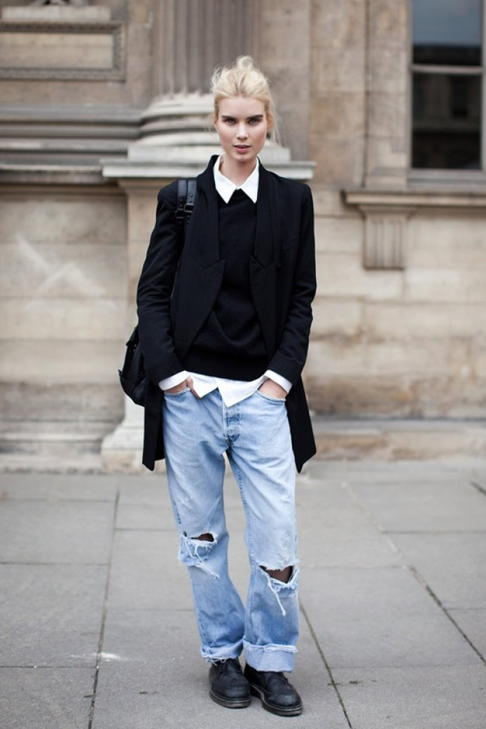platinum-haired-model-in-jeans-t-shirt-black-sweater