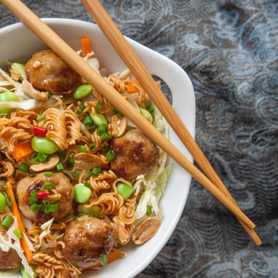 Nutty Asian salad with pork meatballs