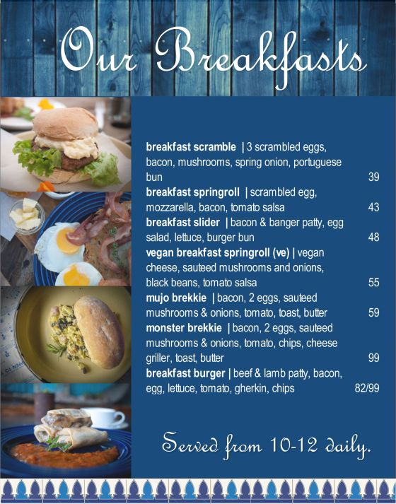Breakfast menu December 2020