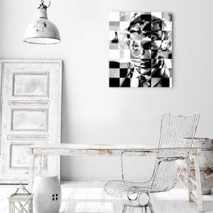 Mixed media print - portret Bobby Fischer