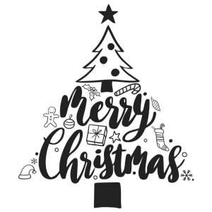 Kerstboom raamtekening groot met quote