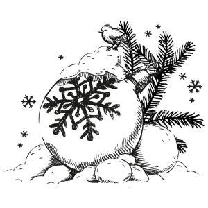 Krijtstift raamtekening kerstbal in sneeuw