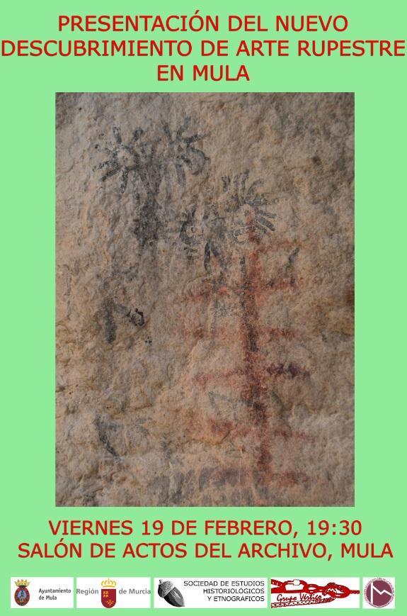 Cartel nuevo descubrimiento de arte rupestre en Mula
