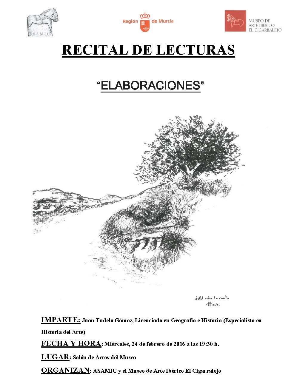 cartel recital de lecturas en el museo cigarralejo