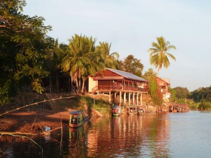 Laos, Don Det, soleil couchant sur le Mékong
