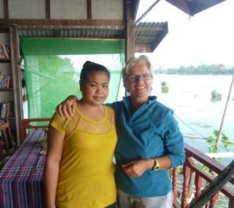 Laos, Don Det, Mr Phao riverview guesthouse et sa responsable