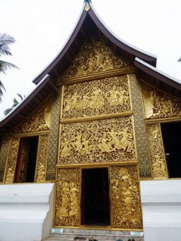 Laos, Luang Prabang Chapelle funéraire Temple Bouddhiste Wat Xieng Thong