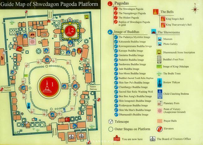Myanmar, Plan du site de la Pagode Shwedagon