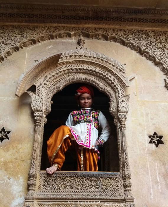Détail d'une fenêtre d'Haveli à Jaisalmer