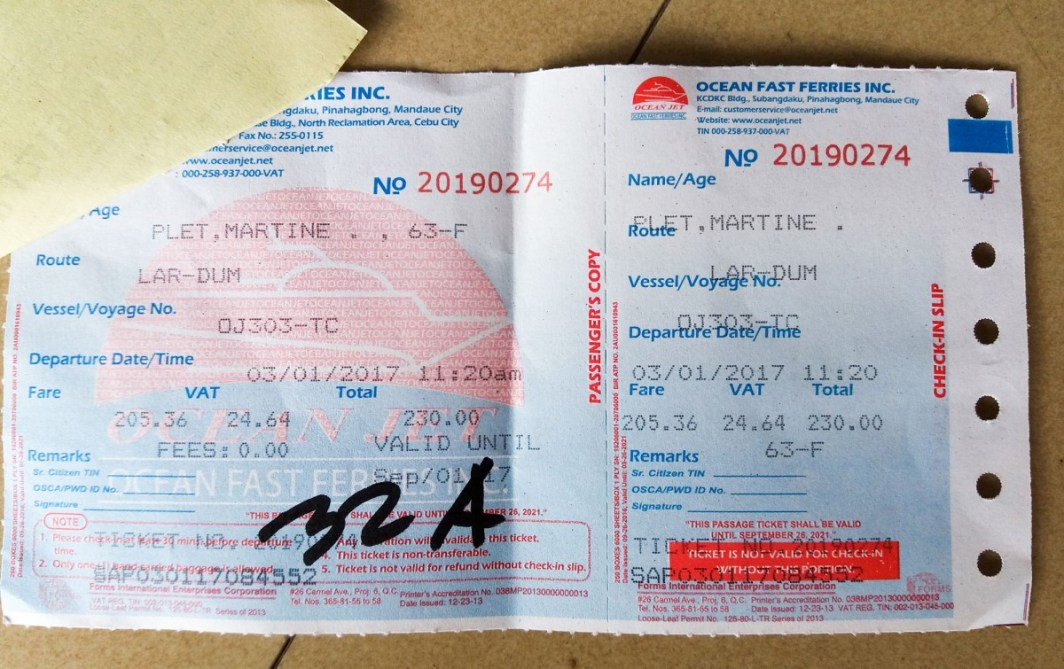 billet de transport pour le ferry