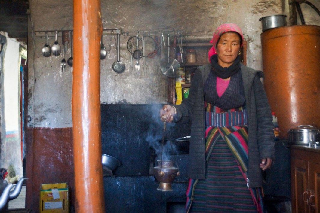Cuisine chez l'habitant à Lo Manthang dans le Haut Mustang au Nepal