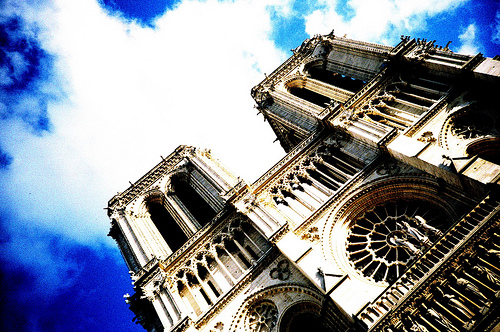 notredame up close blue sky