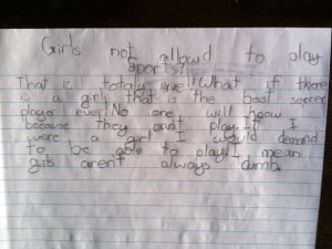 My son's take on girls in sports.