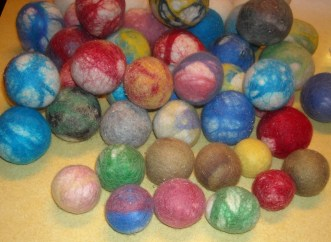 cat toys=felted wool balls
