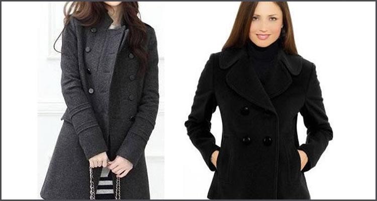 Foto: Reprodução. 1) Casaco de lã chumbo e 2) Casaqueto de lã preto.