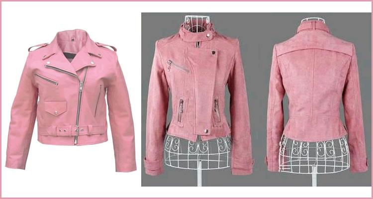 Foto: Reprodução. 1) Jaqueta de couro rosa e 2) Jaqueta de camurça rosa.