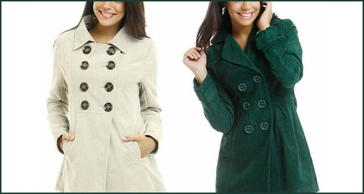 Foto: Reprodução. Marisa.com.br - 1) Casaco de veludo bege-claro e 2) Casaco de veludo verde-musgo.