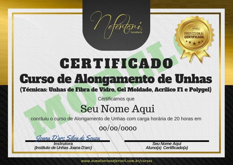 modelo certificado curso nefertari