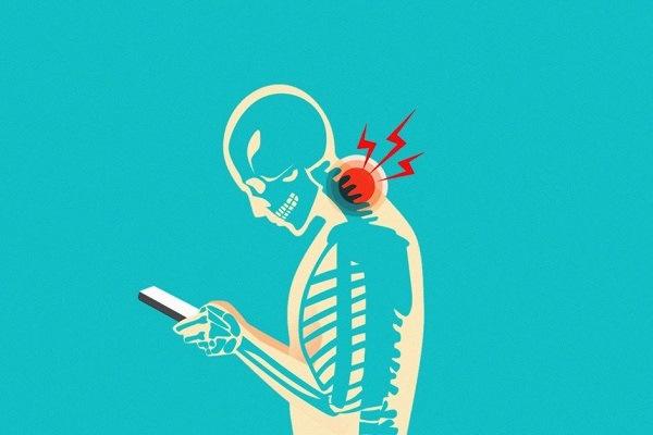 pescoço de texto, postura, celular, livros, notebook, jornalismo, mulheres jornalistas, informação, Neurocirurgião Dr. Rafael Albanez Andrade