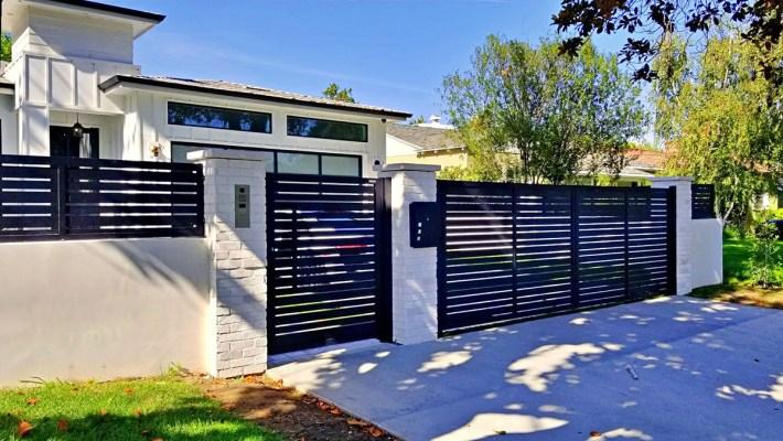 Black specialty aluminum driveway gate