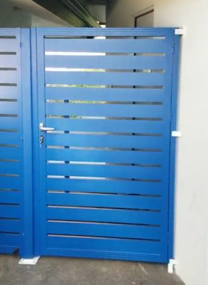 Blue specialty aluminum entry gate