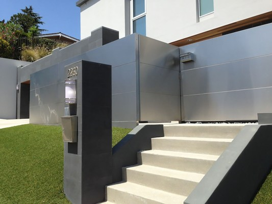 Stainless steel gate with keypad entry