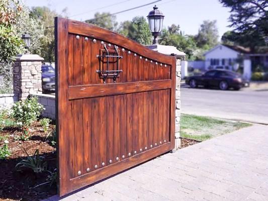 Wood driveway gate open
