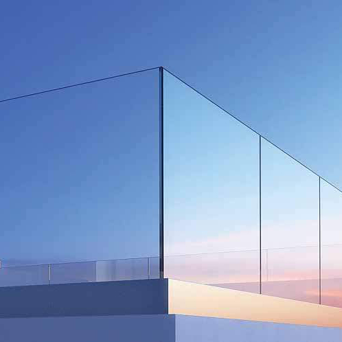 crystal line glass corner railing