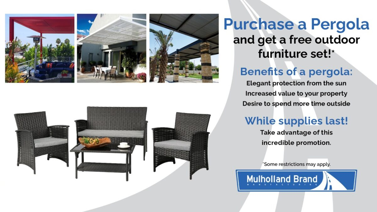Mulholland Offering outdoor dining set with purchase of pergola