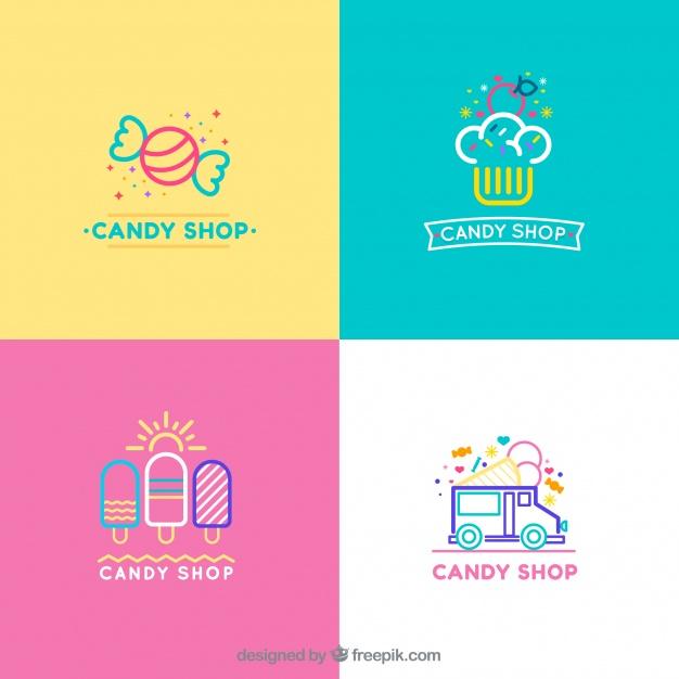 Coleção de logotipos de loja de doces para empresas Vetor grátis