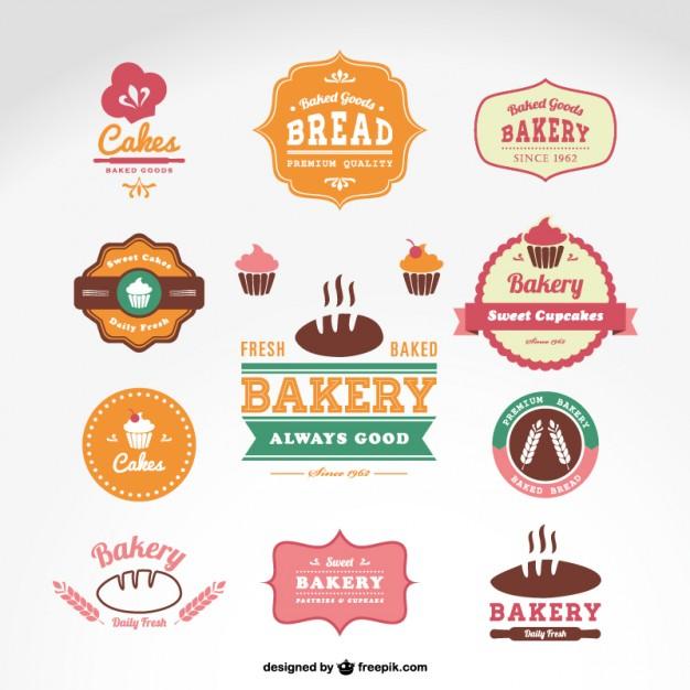 Vetor emblemas de padaria confeitaria Vetor grátis