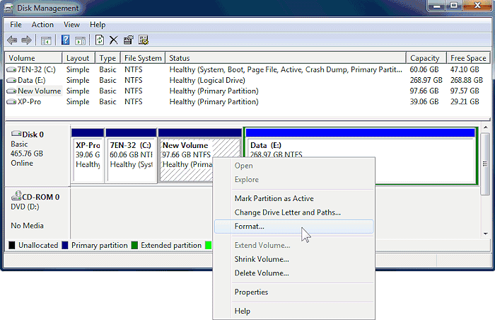 Format Partitions With Windows Disk Management Tool