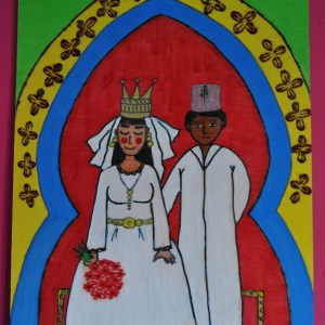 "Moroccan hand-painted picture on wood ""Moroccan wedding"""