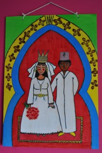 """Moroccan hand-painted picture on wood """"Moroccan wedding"""""""