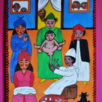 """Moroccan hand-painted picture on wood """"Circumcision"""""""