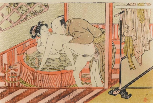 Koryusai, Couple at the Bathtub, 1772