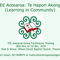 TEE Aotearoa to hold Facilitators' Training Host & Venue - Wilson Street Baptist Church, Timaru