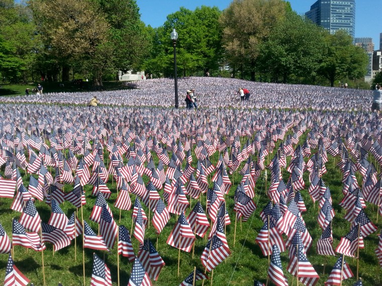 Thousands of flags on the Boston Common, each representing the life of a Massachusetts soldier lost fighting for and defending our freedom since the revolutionary war.