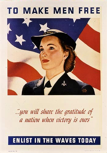 Vintage poster from the 1940's used to encourage women to enlist in the WAVES.