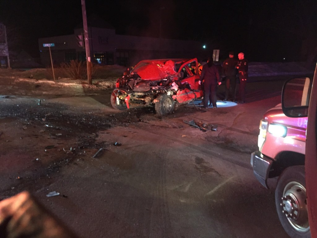 A red Chevy pickup truck traveling north on Madison Avenue in Skowhegan struck a tractor-trailer turning left on to Madison from Jewett Street at 12:30 a.m. Monday, sending four people to the hospital.
