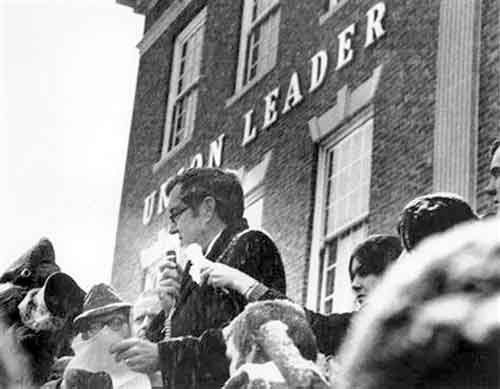 Sen. Edmund Muskie during the 1972 campaign outside the Manchester Union Leader newspaper office in New Hampshire.