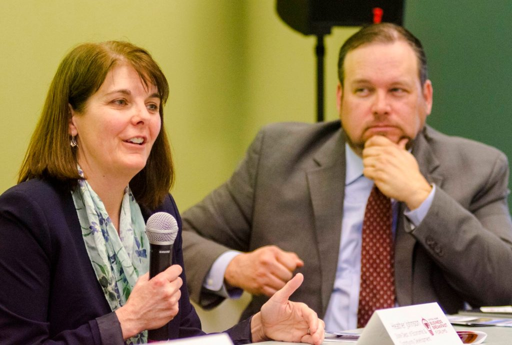 Heather Johnson, commissioner of the state Department of Economic and Community Development, speaks at recent business event in Augusta. Johnson expressed disappointment that lawmakers did not endorse $15 million in bonds to expand broadband access in Maine. She is the former director of ConnectME, the state agency that oversees broadband access in Maine. Looking on is  Keith Luke, deputy director of development services for the city of Augusta.