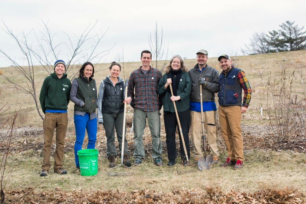 Members of Resilience Hub at Munjoy Orchard. From left, Eli Rubin, Heather Foran, Kate Wallace, Joshua Haiss, Myke Johnson, Toxtli Melloh and Benjamin White.