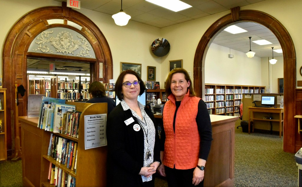 Waterville Public Library Director Tammy Rabideau, left, and Board of Trustees President Cindy Jacobs addressed the City Council on April 30 on budget funding needs.