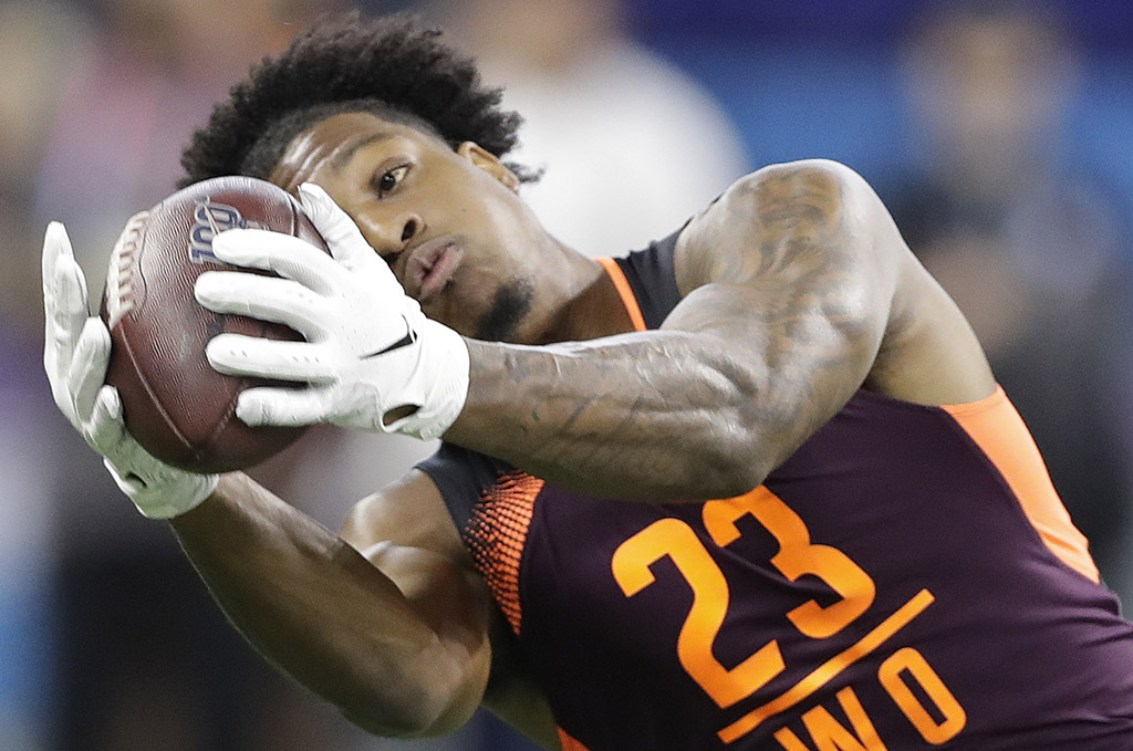 Arizona State wide receiver N'Keal Harry runs a drill during the NFL football scouting combine March 2 in Indianapolis. Harry is the New England Patriots' first-round pick in the draft.