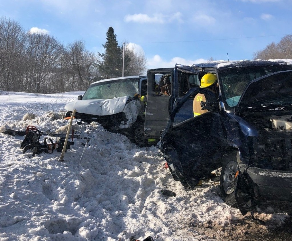 Six ambulances were called to take injured people to hospitals after two vans collided on Route 1 in Bridgewater on Thursday. Multiple crashes were reported during windy, whiteout conditions.