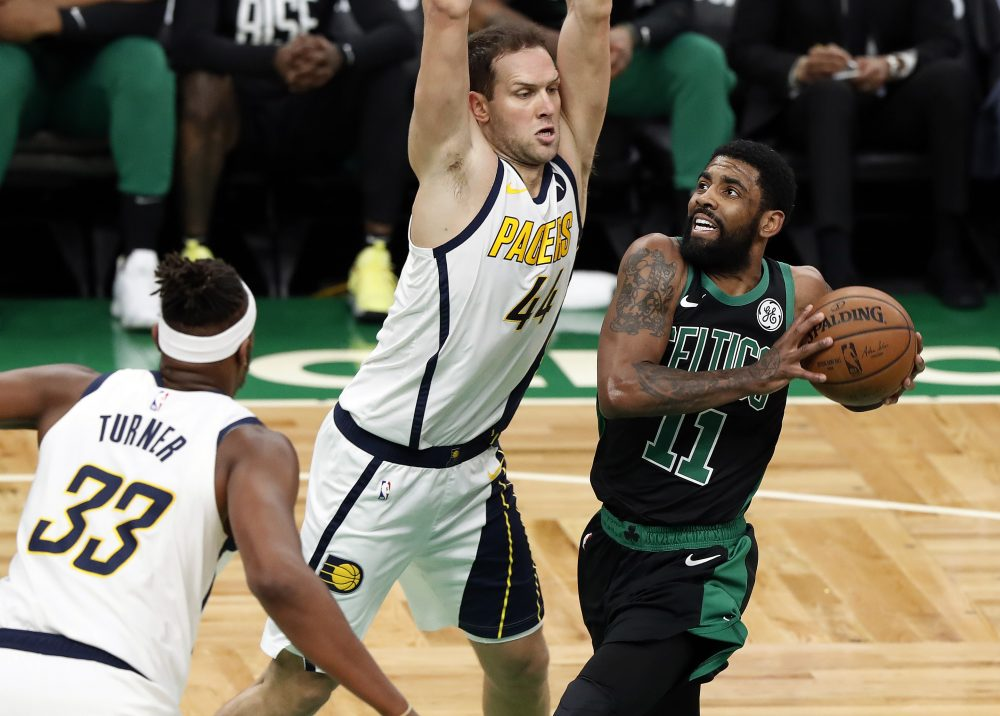 big sale a72cc 5e7a0 Pacers Celtics Basketball 19527. Pacers Celtics Basketball 19527. Boston  Celtics  Kyrie Irving drives on Indiana Pacers  Bojan Bogdanovic during Game  1 ...