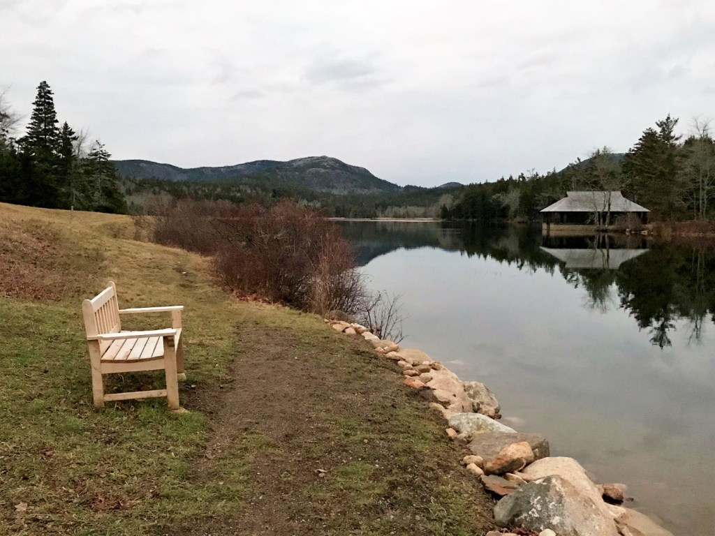 The lovely view north to Penobscot Mountain from the west side of Little Long pond.