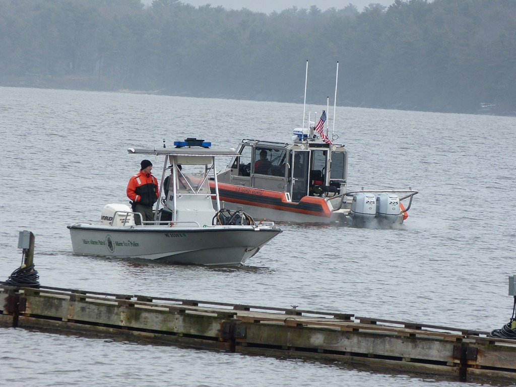 Maine Marine Patrol and U.S. Coast Guard boats and personnel patrol the Kennebec River Friday looking for a 35-year-old man who authorities believe fell into the water Thursday night.