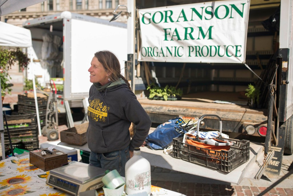 "Jan Goranson mans the Goranson Farm stall at the Portland Farmers' Market in Monument Square on Wednesday. Goranson, one of the owners of the family farm in Dresden, said a chilly, rainy spring has made farming ""challenging to say the least."""